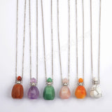 "19"" Silver Natural Stone Perfume Bottle Necklace WX1606"