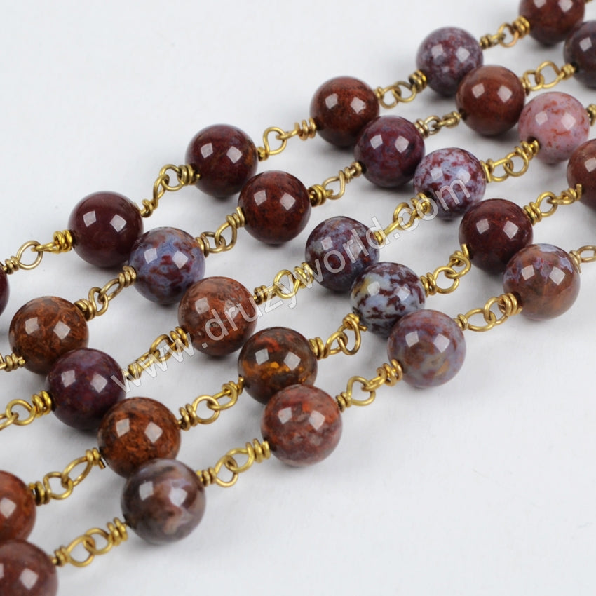 Red Lace Agate Rosary Chain