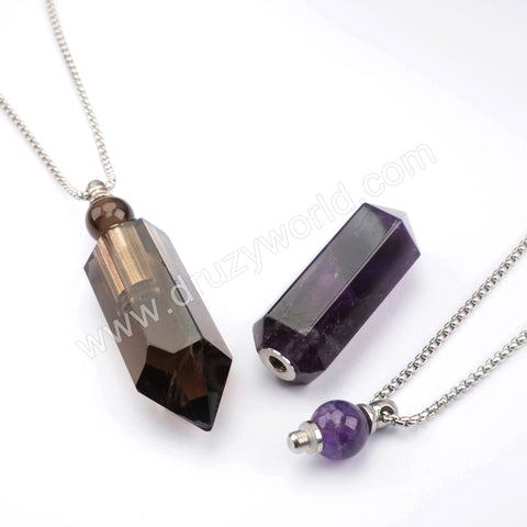 "19"" Silver Multi-kind Stone Perfume Bottle Necklace WX1508"