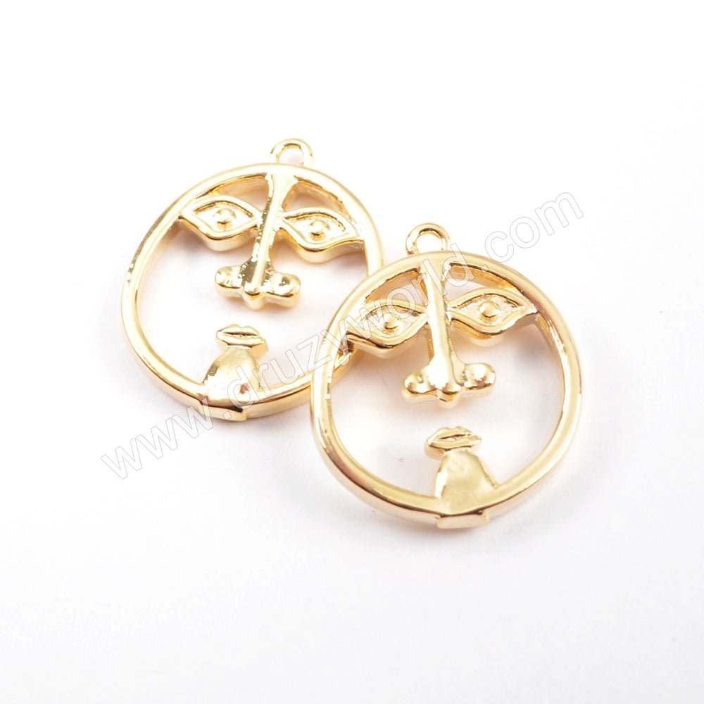 5pieces/lot,Lovely Face Gold Plated Brass DIY Charm Making Jewelry Supply PJ231