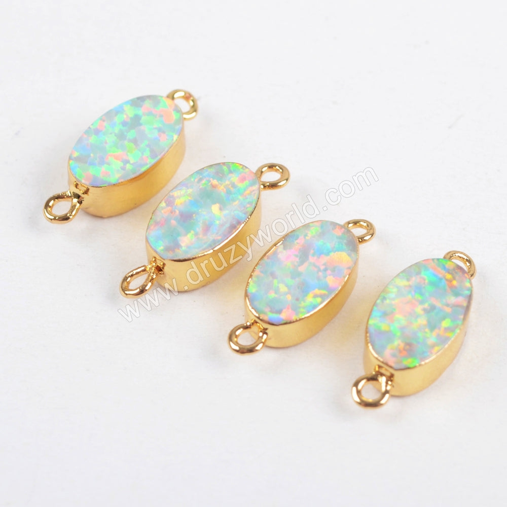 Oval Gold Plated Opal Connector G1460