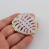 Leaf Gold Plated White Shell Pendant G1745