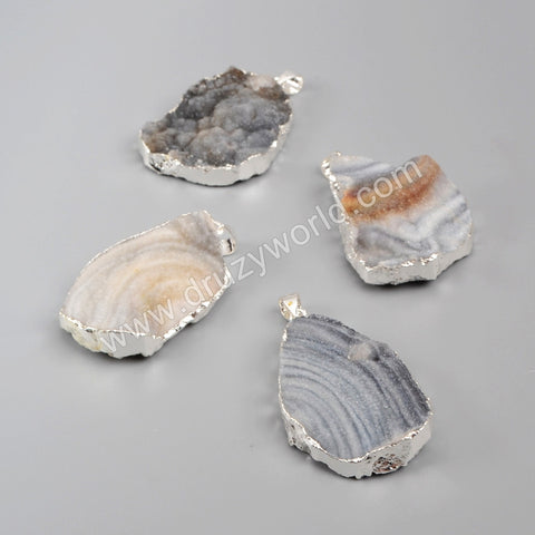 925 Sterling Silver Plated Freeform Natural Brazilian Galaxy Quartz Pendant Bead SS015
