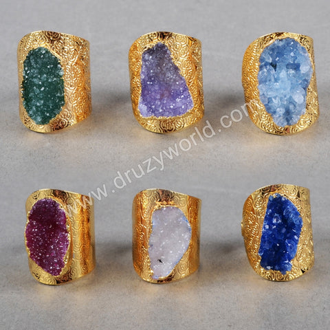 Druzy Cuff Ring With Natural in gold plating
