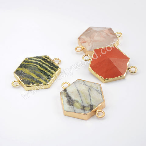 Natural Multi-kind Stones Hexagon Connector Gold Plated WX1499
