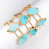 Gold Plated Three Howlite Turquoise Bangle G0403
