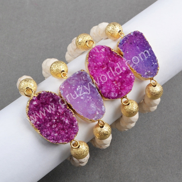 Gold Plated Hot Pink Agate Druzy Geode & 10mm White Howlite Turquoise Beads Bracelet G0336
