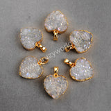 Gold Plated Heart Natural Agate Titanium AB Druzy Pendant Bead Gift For Her G0389