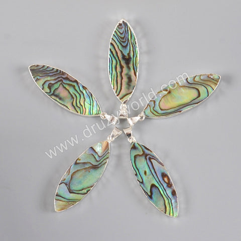 925 Sterling Silver Marquise Natural Abalone Shell Pendant Bead SS119