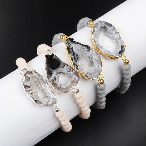 Gold Plated Natural Onyx Druxy Agate Geode Slice & 6mm Grey Color Beads Bracelet G1019