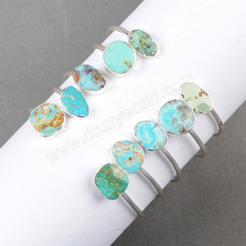 Silver Plated Double Freeform Shape Natural Turquoise Adjustable Bangle S0235