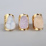 Gold Plated Natural Agate Titanium AB Druzy Band Ring G0904