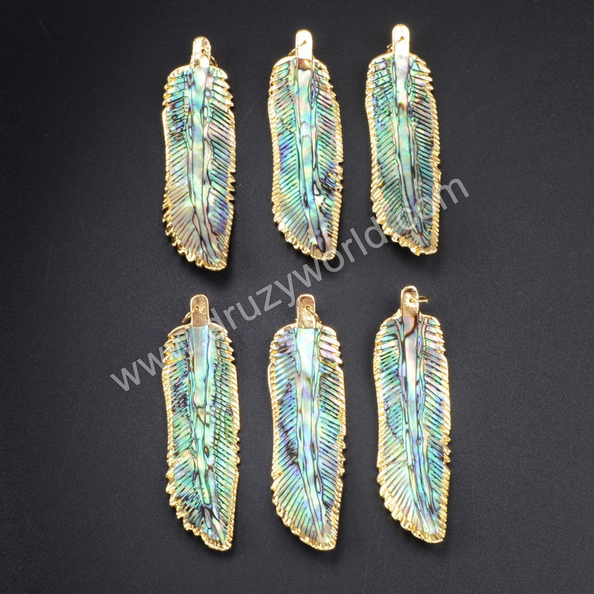 Gold Plated Edge Abalone Shell Carved Feather Pendant Bead G1058