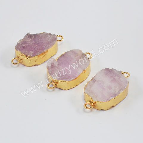 Gold Plated Rough Kunzite Jasper Connector G1990