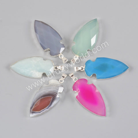 925 Sterling Silver Arrowhead Natural Ceramic Pendant Bead SS130