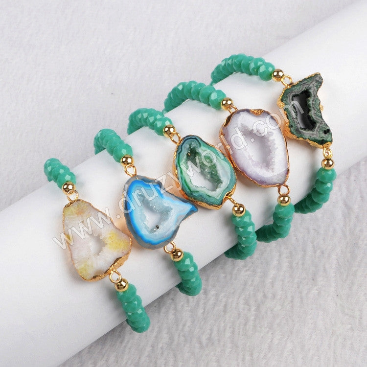 Gold Plated Natural Agate Druzy Geode Slice & 6mm Green Color Beads Bracelet
