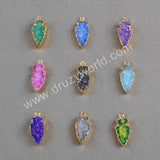 Arrow Rainbow Natural Agate Druzy Geode Charms Gold Plated G0255