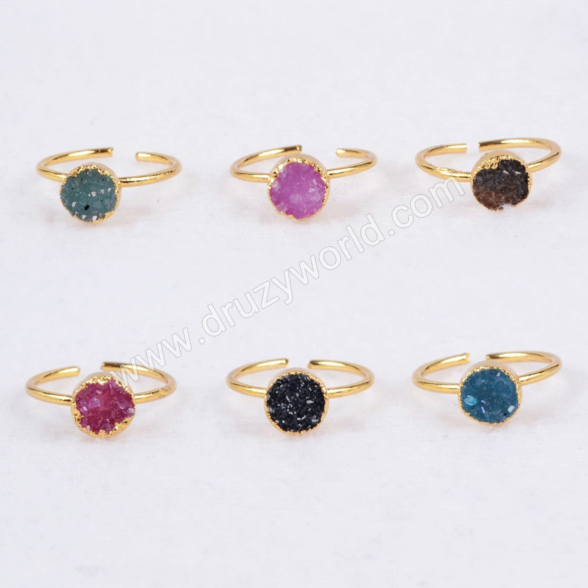 Gold Plated  Natural Rainbow Round Druzy Agate Adjustable Knuckle Ring G0601