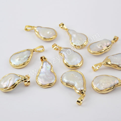 Gold Plated Natural Pearl Pendant G1915