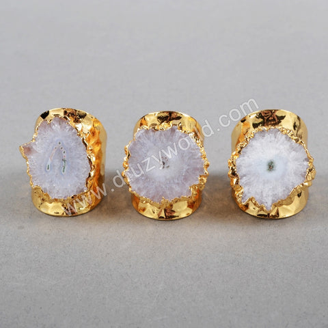 Gold Plated Natural White Solar Quartz Ring G0439