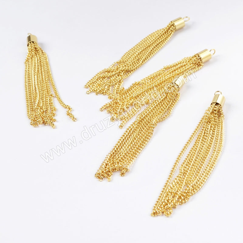 Wholesale Gold Plated Chain Tassel Jewelry Finding PJ017-G