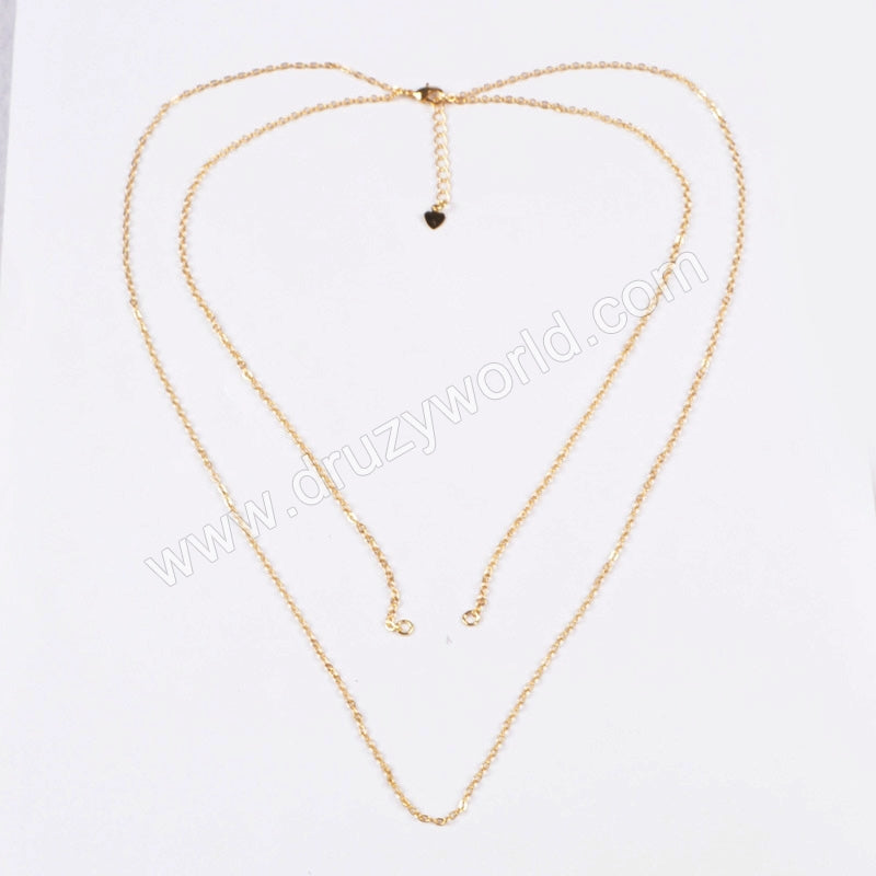 16 Inch Gold Plated Copper Connector Necklace & 23 Inch Gold Plated Copper Finished Chain Pendant Necklace Finding PJ015-G
