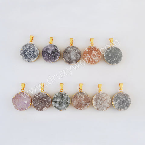 Gold Plated Round Agate Druzy Pendant G2020