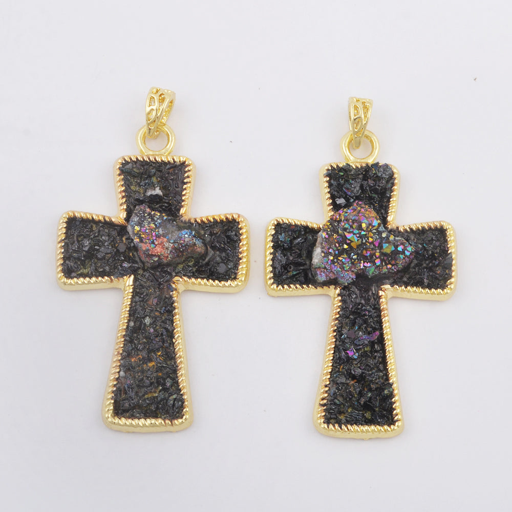 Cross Natural Black Tourmaline Pendant Necklace WX1810