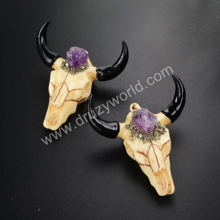Longhorn resin horn cattle pendants&Natural Rough Amethyst Bead Pendant, bull cattle pendants with black plated G1042