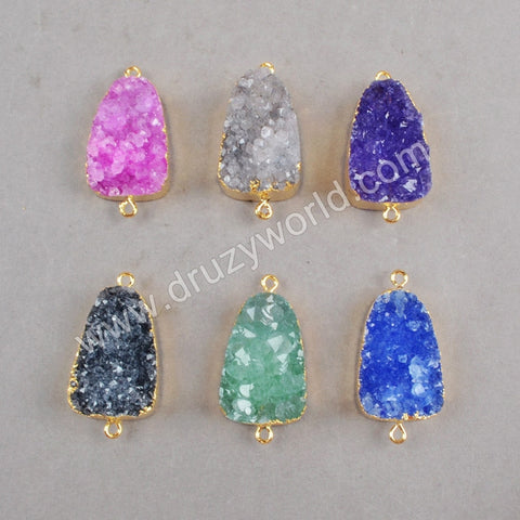 28x18mm Figuration Rainbow Agate Druzy Geode Connector Double Bail Gold Plated G0254
