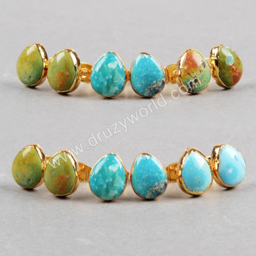 Gold Plated Egg Shape Natural Turquoise Stud Earrings G0433