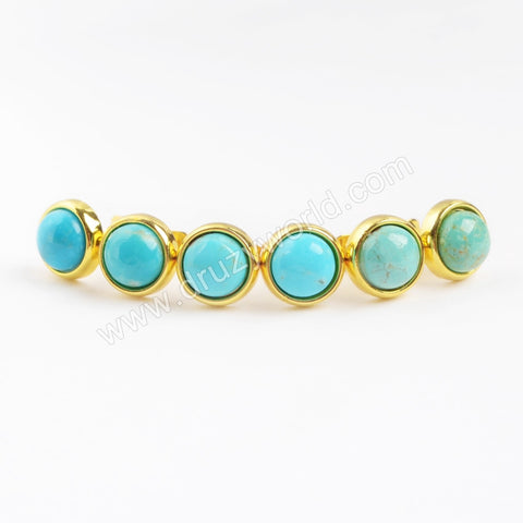 Gold Plated 8mm Natural Round Turquoise Stud Earring ZG0121