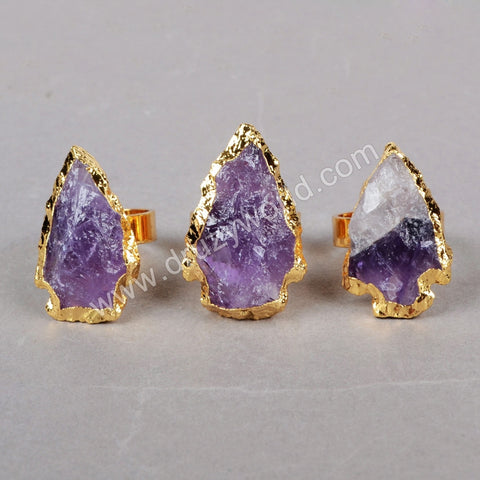 Gold Plated Arrowhead Raw Natural Amethyst Arrowhead Ring