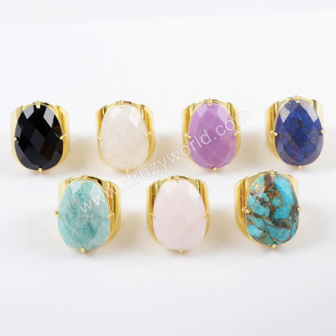 18K Gold Natural Faceted Gemstone Claw Set Ring ZG0321