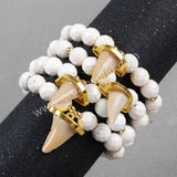 Gold Plated Natural Shark Tooth&10mm White Howlite Turquoise Beads Bracelet G0883