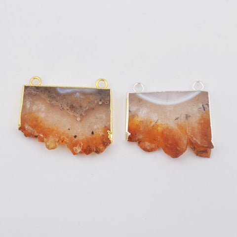 Natural Slice Citrine Agate Crystal Connector WX1794