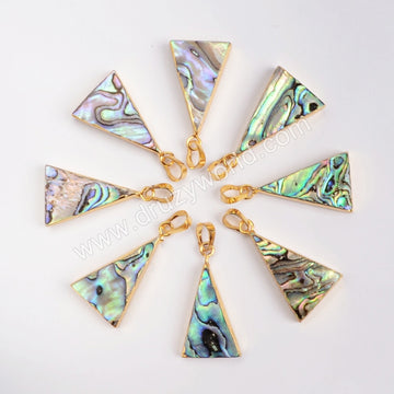 Gold Plated Triangle Abalone Shell Pendant Bead G0464