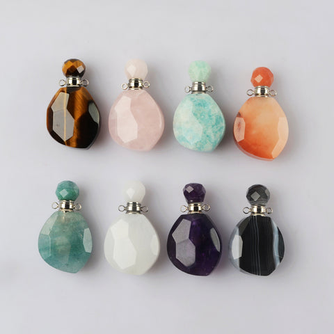 Silver Gemstone Perfume Bottle Necklace WX1838