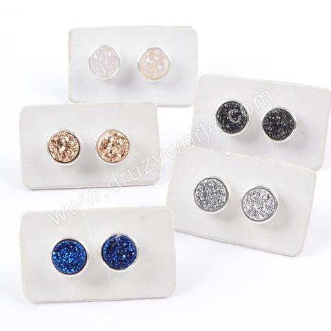9mm Natural Titanium Druzy Stud Earrings Silver Plated ZS0198