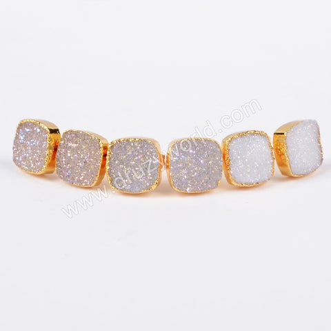 10mm Gold Plated Square Natural Agate Titanium AB Druzy Stue Earrings G0679
