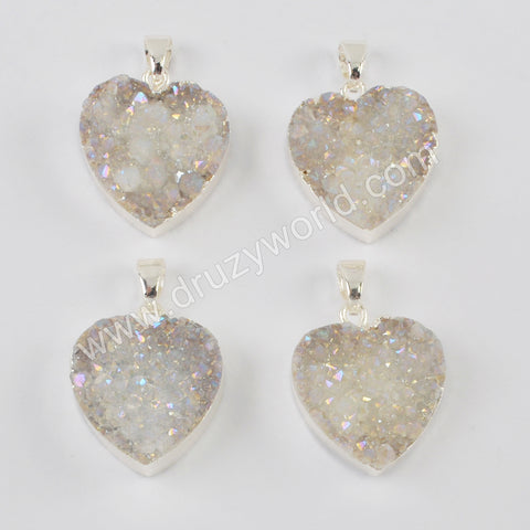 Silver Plated Heart Natural Agate Titanium AB Druzy Pendant Bead S0389