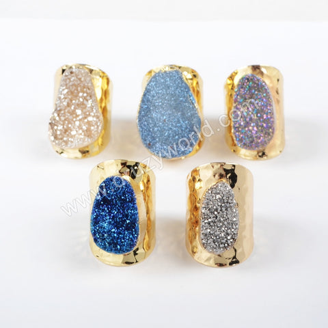 Gold Plated Oval Natural Agate Titanium Rainbow Druzy Band Ring G0890