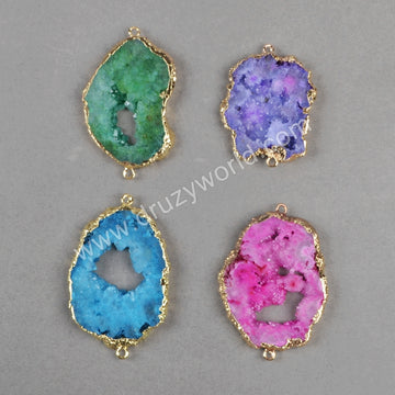 Gold Plated Freeform Rainbow Natural Druzy Agate Geode Slice Connector G0828