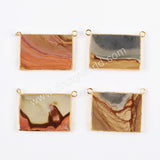 Gold Plated Rectangle Succor Creek Jasper Connector Double Bails G0470