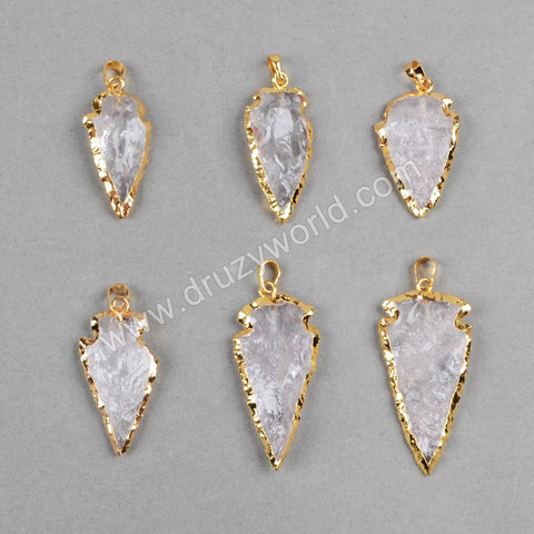 1.5 Inch Arrowhead Gold Plated White Quartz Pendant Bead G0825