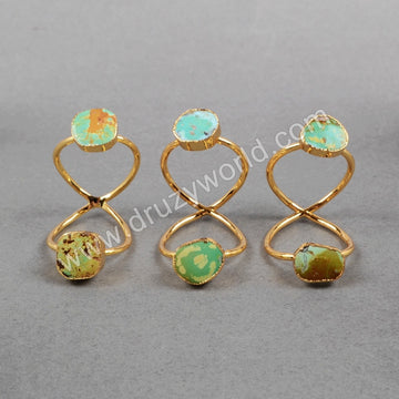 Gold Plated Double Natural Turquoise Twisted Ring Full Finger Ring