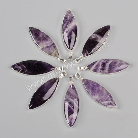 925 Sterling Silver Marquise Ntural Amethyst Pendant Bead SS103
