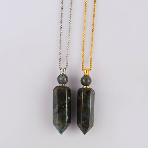 Natural Labradorite Perfume Bottle Necklace WX1827