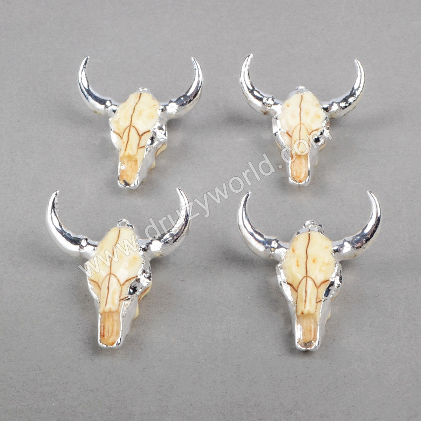 Longhorn resin horn cattle pendants, bull cattle pendants with silver plated S0842