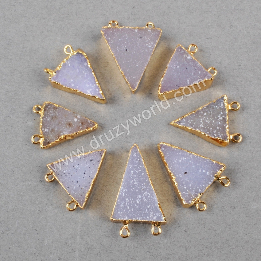 Natural color gemstone triangle druzy connectors